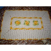 Tapete De Crochê Barbante Retângular Com Flores Amarelas