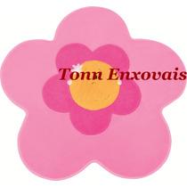 Tapete Infantil Menina Flor Rosa 74cm Pelúcia Antialérgica