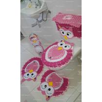 Jogo De Banheiro Coruja Feliz Rosa 5 Peças