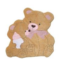 Tapete Infantil Ursa E Bebê Mamadeira Poá Rosa Em Pelúcia