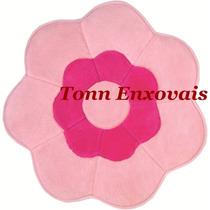 Tapete Infantil Flor Rosa Pelúcia Antialérgico 0,70mx0,70m