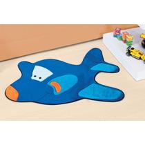 Tapete P/ Quarto Infantil Pelúcia Avião Azul Royal Divertido
