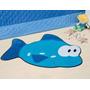Tapete P/ Quarto Infantil Em Pelúcia Peixe Azul Turquesa
