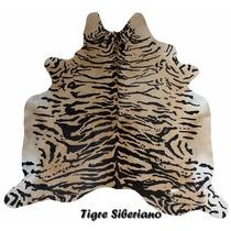 Pele Natural De Couro - Serigrafia Tigre Siberiano + Brinde