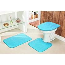 Jogo De Tapete Para Banheiro 3 Peças De Pelucia Cor Azul