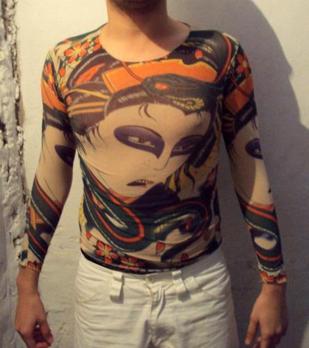 Tattoo Segunda Pele Carnaval Teatro Fantasia Camiseta Danca