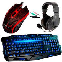 Kit Gamer Teclado 3 Led + Mouse 3200 Dpi Led + Headset +pad