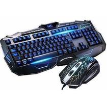 Teclado Gamer Multimídia + Mouse Usb Teclas Iluminadas V-100