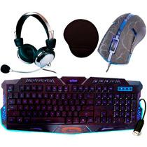 Kit Gamer Teclado + Mouse Led 3200 Dpi + Fone Headset + Pad