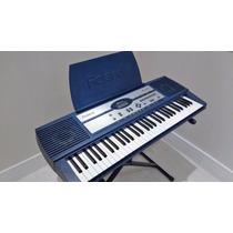 Teclado Musical Roland Em-jr Azul Com Suporte E Fonte