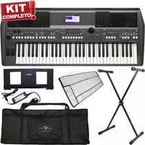 Kit Teclado Arranjador 61 Teclas Psr-s670 Yamaha Com Fonte +