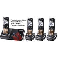 Telefone Sem Fio 2 Linhas Panasonic Com 3 Ramais, Bina V.voz