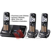 Telefone Sem Fio 2 Linhas Com 2 Ramais Panasonic
