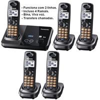 Telefone Sem Fio 2 Linhas Com 4 Ramais Panasonic