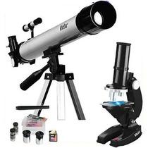Kit Telescópio Luneta 120x Tripé Alumín Microscópio 600x Nfe