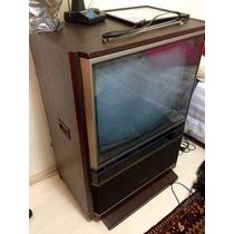 Antiga Tv Mitsubishi Coloria Móvel Que Gira Super Conservada