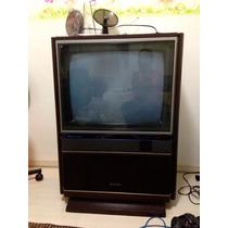 Antiga Tv Mitsubishi Coloria Móvel Que Gira Super Concervada