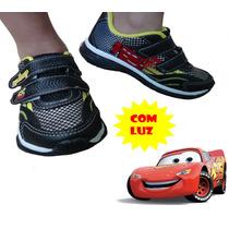 Tênis Infantil Carros Mcqueen C/ Velcro Acende Pisca Luz