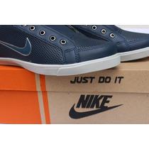 Tênis Nike Skate Em Couro Sintético Azul Lançamento.
