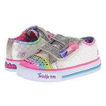 Tênis Skechers Twinkle Toes Infantil Menina Luz Pisca Strass