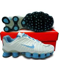 Nike Shox Tlx (12 Molas) - Branco / Azul - Frete Grátis