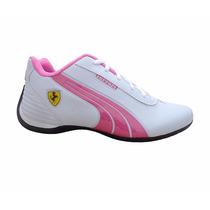Tênis Puma Feminino Ferrari Drift Casual Branco E Rosa