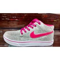 Tênis Nike Air Force Sneakers Botinha Feminino Cinza E Rosa