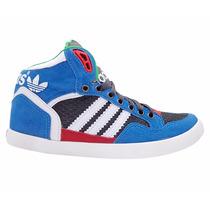 Tênis Adidas Extaball Cano Médio Azul E Vermelho Basquete