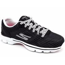Tenis Feminino Skechers Go Walk3 13981 Preto Snob Calçados