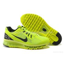Tenis Nike Air Max 2013 Verde Limão E Preto Nº37 Ao 43 Lindo