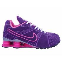 Tênis Feminino Barato Nike Shox Turbo Rosa E Roxo Original
