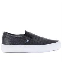 Tênis Vans Classic Slip On Emboss Weave Black Leather Vn-0zm