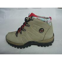 Boot Coturno Adventure Feminino Couro Nobuck Preto Ou Areia