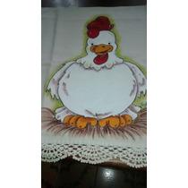 Pano De Prato,copa,algodão, Crochê, Pintado À Mão, Galinha