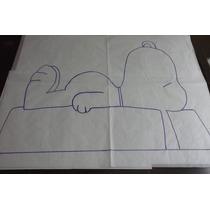 Algodão Cru Com Risco Para Agulha Mágica - Snoopy Deitado