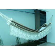 Rede Descanso Dormir Artesanal Casal Sol A Sol - Bege