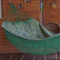 Rede De Dormir E Descansar Indiana Com Fios Dourados - Verde