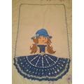 Panos De Prato De Bonecas,pintados A Mão, Acabamentos Crochê