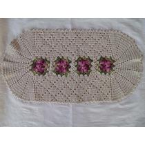 Tapete Floral De Crochê Em Barbante Multiuso Artesanal