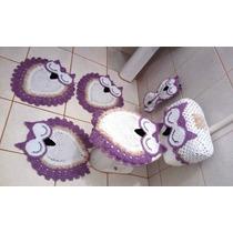 Jogo De Tapetes Banheiro Crochê Coruja 6 Peças Frete Grátis