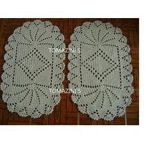 Conjunto De 3 Tapetes Oval Leque 45x75cm Barbante100%algodão