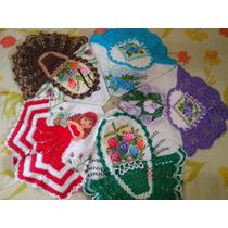 Kit Com 5 Panos De Prato Pintado, Com Crochê