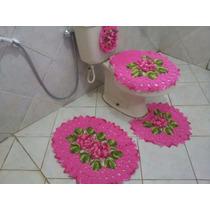 Jogo De Banheiro Em Barbante Barroco, Croche