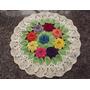 Tapete Forro De Mesa 2 Em 1 Medalhão Crochê Flores Coloridas