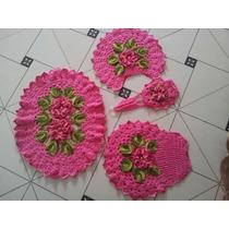 Jogo De Banheiro Em Barbante Crochet Rosa