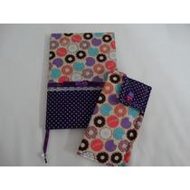 Caderno Encapado Tecido, Porta Óculos Ou Case Celular Donuts