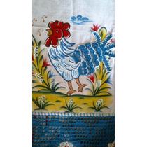 Pano De Prato Pintado A Mão Com Croche