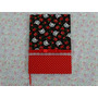 Caderno Encapado Com Tecido Gatinho E Rosas Vermelhas
