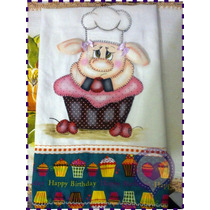 Pano De Prato Em Patchwork - Porquinha No Cupcake