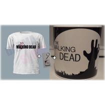 The Walking Dead Kit Camiseta, Caneca E Chaveiro Seriado Twd